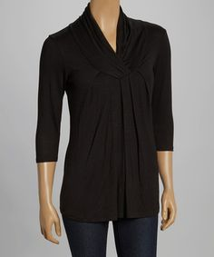 Another great find on #zulily! Black Surplice Top by Celeste #zulilyfinds