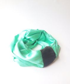 Color pop emerald green and fatigue green  stripe silk infinity scarf