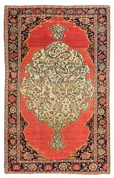 Saruk Ferahan with cloudbands in the medallion  Saruk Ferahan with cloudbands in the medallion Persia circa 1880 6 ft. 10in. x 4ft. 2in., 209 x 126 cm