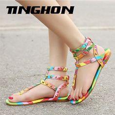 Gladiator Sandals Flats Multicolor Buckle