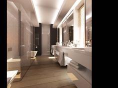 Aranżacja wnętrza łazienki w Józefosławiu. Pomieszczenie w kontrastowych barwach czerni i bieli z dodatkiem ciepłego drewna na podłodze.