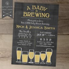 Baby is Brewing BaByQ Baby Shower Invitation / gender neutral / chalkboard / brewery/ beer glasses / by greylein