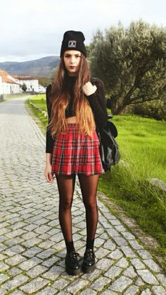 Grunge, Fall fashion, fall outfits, casual, checkered skirt, hair, long, black backpack