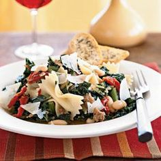 Farfalle with Sausage, Cannellini Beans, and Kale Recipe | MyRecipes.com