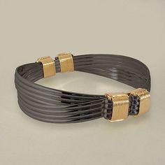 Bracelets 98480: Black Sterling And Gold Filled 4 Knot 8 Strand Elephant Hair Style Safari Bracelet BUY IT NOW ONLY: $160.0