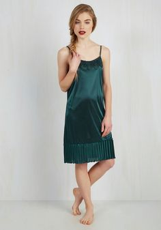 Foundation Fascination Full Slip in Teal. Provide your style with a premise of femininity by making this teal slip your ensembles first step! #green #modcloth