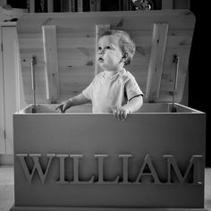 Personalised Toy Boxes - we can do this for you in any color and font - just bring us the letters from Hobby Lobby!