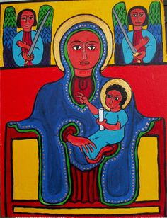 Ethiopian. Madonna Enthroned.  Check out myOCN.net, the largest Orthodox Christian website in the world, for more Orthodox Christian news!