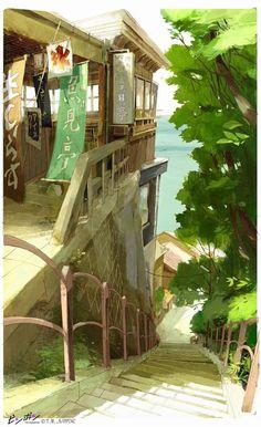 "Aymeric Kevin illustration - A ""Ping Pong"" background based on Enoshima Island. Fantasy Landscape, Landscape Art, Fantasy Art, Animation Background, Art Background, Manga Anime, Anime Art, Art Environnemental, Comics Illustration"