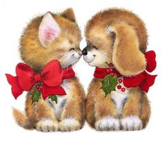Merry Christmas Wishes : gif chien Illustration Mignonne, Illustration Noel, Christmas Illustration, Christmas Clipart, Vintage Christmas Cards, Christmas Printables, Christmas Kitten, Christmas Animals, Christmas Puppy