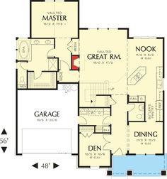 Charming Craftsman Home Plan - 6950AM floor plan - Main Level