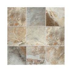 American Olean 15-Pack Kendal Slate Easdale Neutral Glazed Porcelain Indoor/Outdoor Floor Tile (Common: 12-in x 12-in; Actual: 11.81-in x 11.81-in)