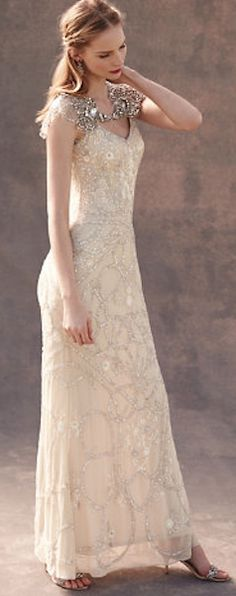 Beautiful embellished wedding gown - @BHLDN
