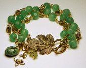 Charm Bracelet Green Glass And Golden Bead  - Lana Chayka - Etsy
