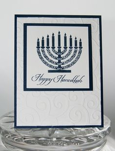 Hand Stamped Menorah Blue Happy Hanukkah Card