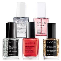 Show off and create nail envy! From base coat to top coat, and three fabulous shades in between. A $31 value.  Buy Avon nail polish online at isanchez-klassen.avonrepresentative.com  #avon #nailpolish