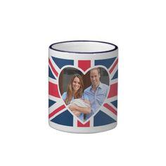 Will, Kate, Prince George - British Flag Mug