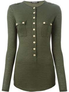 Shop Balmain long sleeve military T-shirt in  from the world's best independent boutiques at farfetch.com. Shop 300 boutiques at one address.