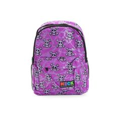 Backpack Multi Skull ($20) ❤ liked on Polyvore featuring bags, backpacks, real leather backpack, day pack backpack, leather backpacks, skull backpack and purple leather bag
