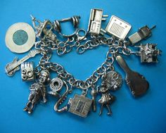 Rare Vintage Sterling Rock & Roll Music Theme Charm Bracelet