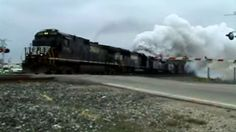 NS Locomotive Blows Turbo Charger At Crossing!