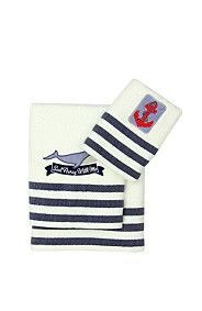 EMBROIDERED ANCHOR AND WHALE TOWEL