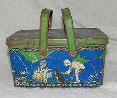 Primitive Antique Vintage Tin Lunch Box Figural Graphics 2 Handles