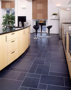 Kitchen flooring idea : EA29 European Slate with MP38 Meteor Silver Stripping by Amtico® Tile