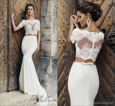 Two Pieces Mermaid Wedding Dresses Bridal Gowns 2016 New Cheap Lace Appliques Sheer Off Shoulder Short Sleeves Plus Size Long Wedding Dress Online with $149.75/Piece on Haiyan4419's Store | DHgate.com