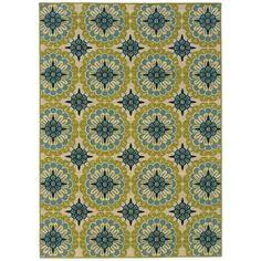 Wildon Home ® Capri Indoor/Outdoor Floral Green/Ivory Area Rug