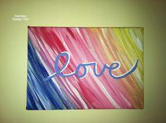 Rainbow Love Painting on Canvas by SweetpeaShabbyChic on Etsy, $10.00