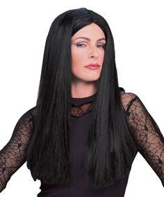 Ladies Black White Demonia Wig Long Gothic Hair Vamp Halloween Cruella Fancy Dre