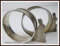 Vintage 1988 Sterling Silver Bunny Rabbit Child's Napkin Rings