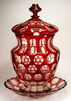 Punch Bowl, colorless glass, olive cut, ruby stained after the cut, ca. Punch Bowl Set, Cranberry Glass, Bohemian Art, Red Rooms, Fenton Glass, Glass Containers, Carnival Glass, Glass Collection, Antique Glass