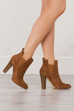 Suede Heeled Bootie in Black and Camel