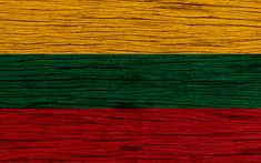 Download wallpapers Flag of Lithuania, 4k, Europe, wooden texture, Lithuanian flag, national symbols, Lithuania flag, art, Lithuania