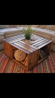 Coffee table made from four crates