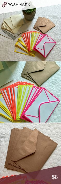 """69 envelopes for thank you's and crafts Make your Posh packages and thank you's pop with this bundle of 69 small envelopes. All brand new. Includes:  -(39) White envelopes with neon trim (approx 3.5"""" x 5.5"""") -(8) Metallic rose gold/bronze envelopes (approx. 3"""" x 5"""") -(16) Off white/cream envelopes (approx. 3.75"""" x 5"""") -(4) White envelopes (approx 4"""" x 5.5"""") -(1) Off white/cream envelope (approx 4"""" x 5.5"""") -(1) White and gray envelope (approx 3.75"""" x 5.25"""") Other"""