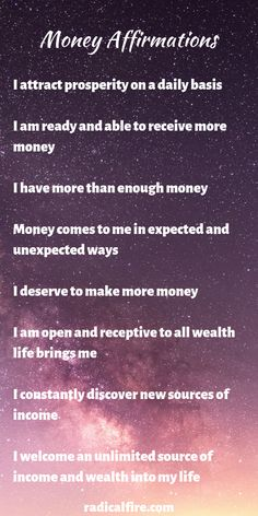 88 Life-Changing Money Affirmations to Attract Wealth and Abundance - Radical FIRE The Law of Attraction mentions that what we focus our mind on, we attract. Money Affirmations to Attract Wealth and Abundance into your life. Positive Affirmations Quotes, Wealth Affirmations, Morning Affirmations, Affirmation Quotes, Affirmations For Money, Forgiveness Quotes, Quotes Positive, Strong Quotes, Love Quotes For Her