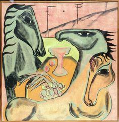 """""""Heste i Rosa Lyset"""". 1978. Olie på lærred. Mål 100x110 cm. Pris 28.000,-"""