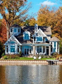 Cape Cod, Shingle style lake home beach-style-exterior My Dream Home, Dream Homes, Home Beach, Future House, My House, House By The Lake, Architectural Features, House Goals, Life Goals