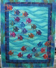 Lovely applique fish quilt