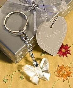 6 Crystal Butterfly Key Ring Favours  /  Wedding Favours / Guest Gifts