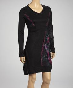 Take a look at this Black & Pink Embroidered V-Neck Sweater Dress by Moka Apparel on #zulily today! $35 !!
