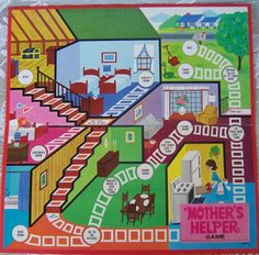 """Mother's Helper game.  A Milton Bradley game, where the children (players) """"race through the house helping Mother with her chores.""""  I remember playing this with my Mother :)"""