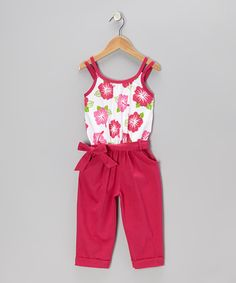 Take a look at this Raspberry Floral Belted Jumpsuit - Toddler & Girls by Littoe Potatoes on #zulily today!