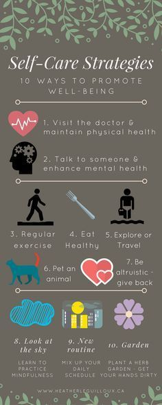 Self-care strategies Infographic & blog post /hleguilloux/ - self-care | wellness | mental health | well-being | blog | therapy
