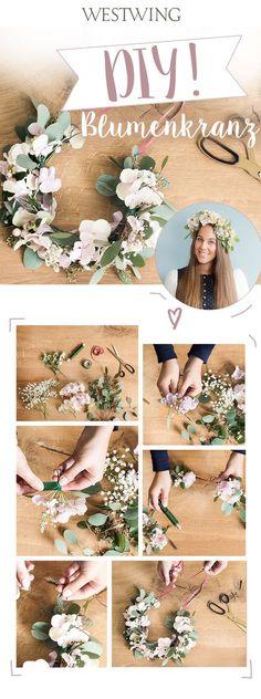 Blumenfreunde aufgepasst! Ob zur Hochzeit, auf dem Festival oder auf dem Münchner Oktoberfest: unser selbstgemachter Blumenkranz für die Haare ist der Hingucker schlechthin und macht Euer Outfit zu etwas ganz Besonderem. Das Beste daran? Man kann den floralen Haarkranz je nach Belieben in Größe und Farbe selbst gestalten. Unser Westwing Tipp: um den Blumenkranz frisch zu halten, befeuchtet ihr ihn etwas, packt ihn in eine Tüte und legt ihn in den Kühlschrank. // Wedding Flower Crown…