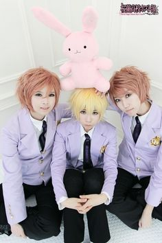 Hikaru, Kaoru and Honey cosplay! (and Usa-chan) Ouran High School Host Club