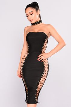 Available In Black Midi Dress Includes Eyelet Choker Lace Up Dress Back Zipper  90% Polyester 10% Spandex